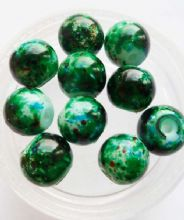 Mottled Glass beads 8mm. Green x 10.